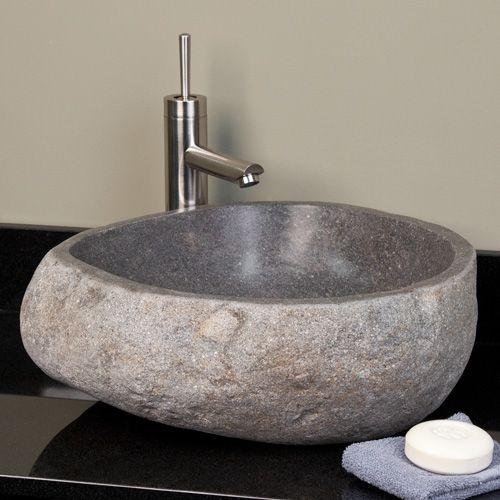 Whitney Stone Vessel Sink Light Gray River Stone Vessel