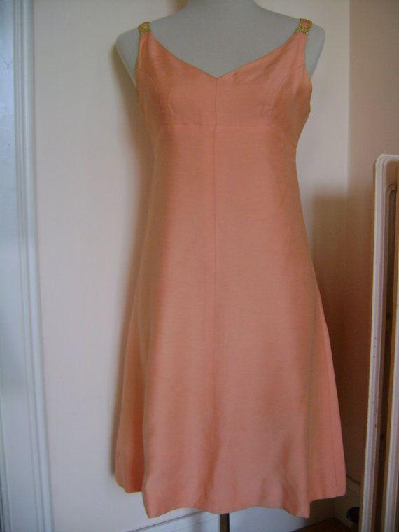 Jean Shrimpton-style 60s couture peach-coloured A-line dress, £120.00, https://www.etsy.com/listing/109827200/jean-shrimpton-style-60s-couture-peach