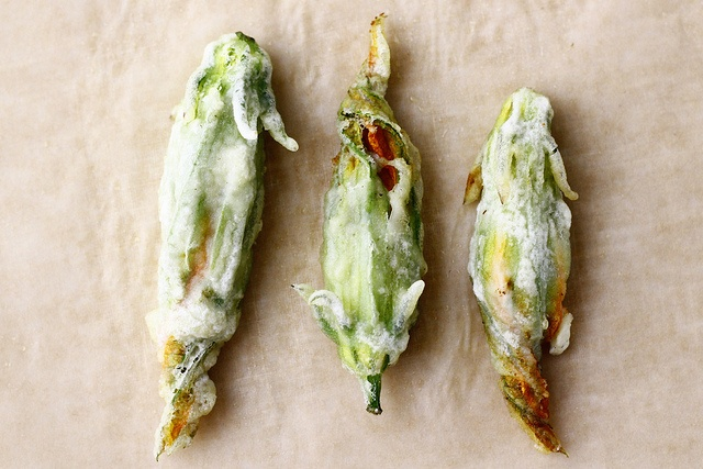 Squash blossoms stuffed with goat cheese, corn and pablano peppers ...