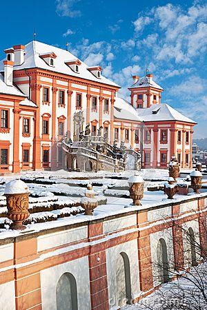 Baroque Troja castle, Prague, Czech republic Editorial Photo