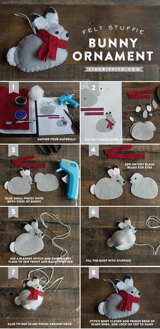 Make a Felt Bunny Gift Topper or Tree Ornament