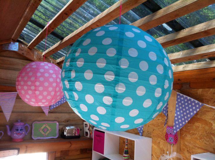 Cubby house interior paper lanterns