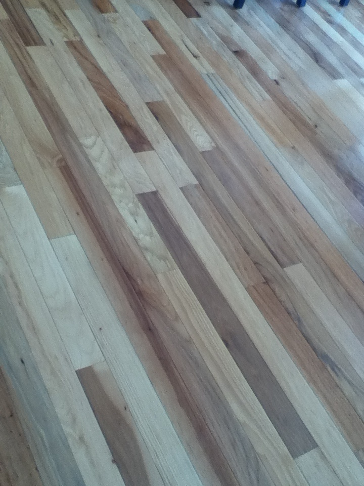 Hickory floor throughout kitchen and halls