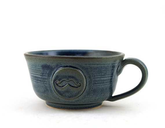 """Awesome gift for Guys:  The """"Low Rider"""" Mustache Mug for Coffee or Soup by MiriHardyPottery,  $28.00"""