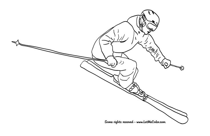 Skiing winter coloring page LetMeColor com Snow skiing