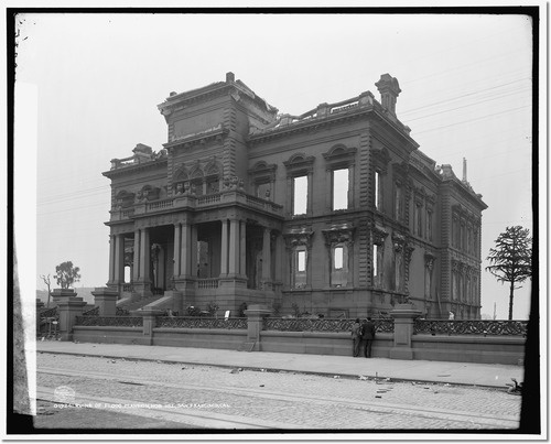 Ruins of the Flood mansion, Nob Hill, after earthquake and fire of 1906. The walls were so thick, they were able to be incorporated into the new building (now the Bohemian Club)