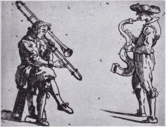 TROMBONE and SERPENT (c. 1630) Rome, Italy: An etching from the series Figure con instrumenti musicali e boscarecci by Giovanni Battista Bracelli features a trombone and a serpent.