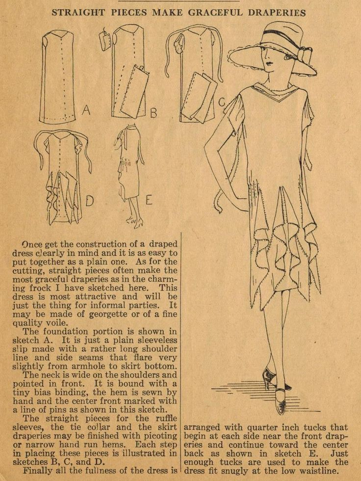 The Midvale Cottage Post: Home Sewing Tips from the 1920s In this tip, Ruth Wyeth Spears describes how to add graceful drapes to the skirt of a charming frock (with frock construction illustrated as well). Note the interesting tucks in addition to the cascading drapes