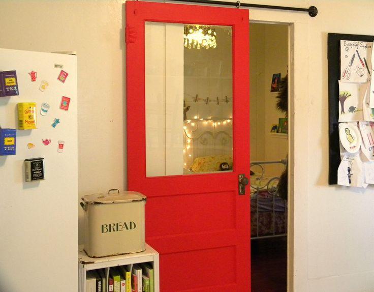 Interior Barn Doors For Homes Ideas: Fabulous Red DIY Sliding Barn Door In  White Kitchen Design