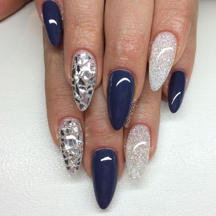 """4,845 Likes, 62 Comments - Solin Sadek (@solinsnaglar) on Instagram: """"""""Thunder Blue"""" med Diamond och silverflakes"""""""