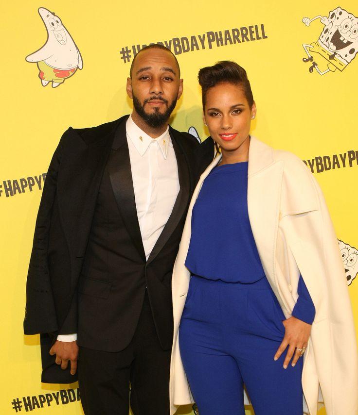 Alicia Keys and Swizz Beatz got in on Pharrell's birthday fun at his SpongeBob SquarePants-themed party.