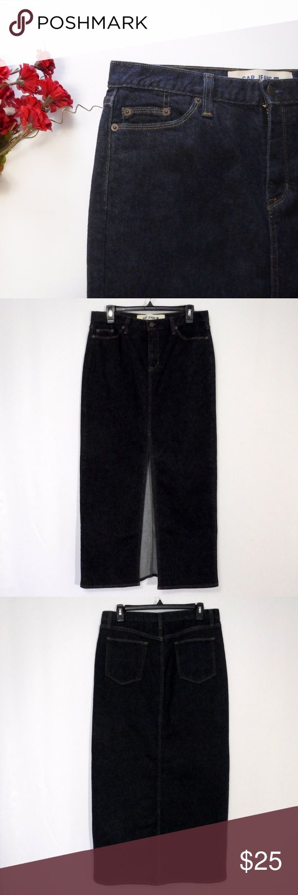 """Gap Jeans Denim Maxi Long Skirt Size 10 Reg Gap Jeans Dark Blue Denim Maxi Skirt Size 10 Reg   5 Pockets Button with Zipper Closure 23"""" Factory Split Vent in Front  99% Cotton 1% Lycra Spandex  Appears Hardly Worn In Excellent Pre-Owned Condition and Shows Normal Signs Of Wear With No Stains.   All Measurements Posted Below are Aprox. & Taken While Laying Flat  Waist: 16.5""""(33) Length: 39.5""""  Please Ask Any Questions You may Have Before Purchasing.  Smoke & Pet Free Home  Please Check Out My…"""