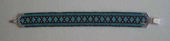 Flaches Peyote Armband Türkis Karo von 4CornersBeadworks auf Etsy