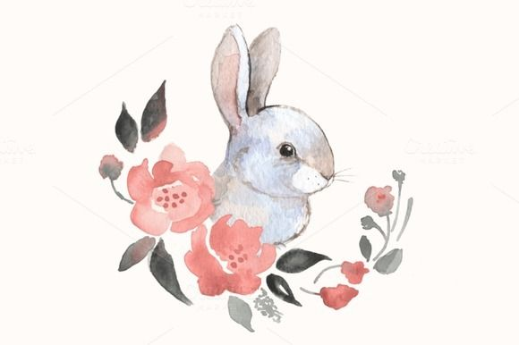 White rabbit by Watercolor agddiction on Creative Market