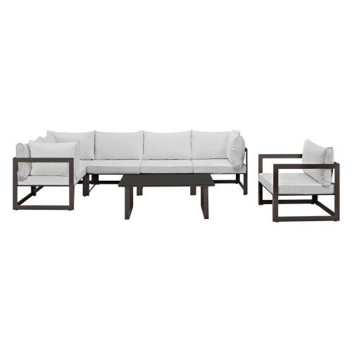 Modway Fortuna 7 Piece Poolside Patio Sectional Sofa Set
