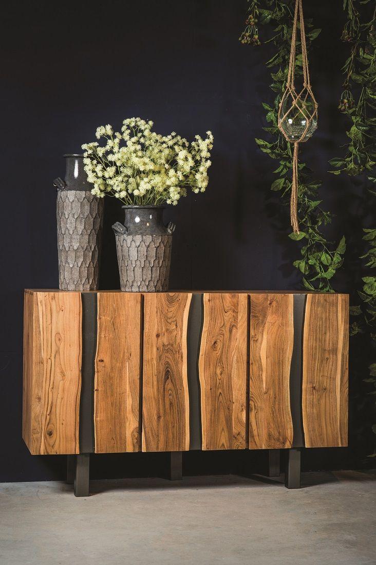 Steel and acacia wood dressoir #style #ptmd #kast