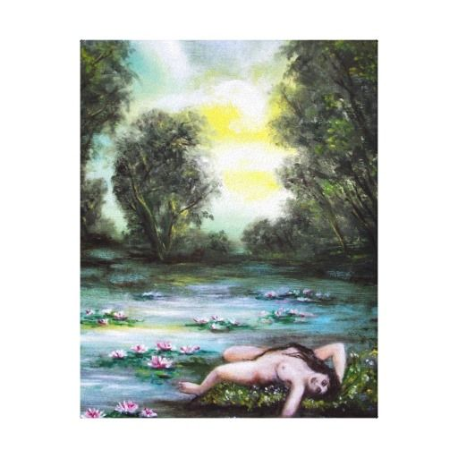 LEDA,LAKE AND WATERLILIES STRETCHED CANVAS PRINTS