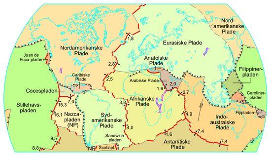 Kort over de tektoniske plader og deres hastighed