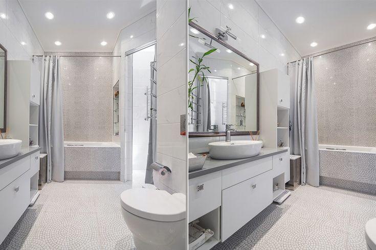 цветовой решение, размещение сантехники (душевая вместо ванной), раковина на столешнице, комод большой под раковиной