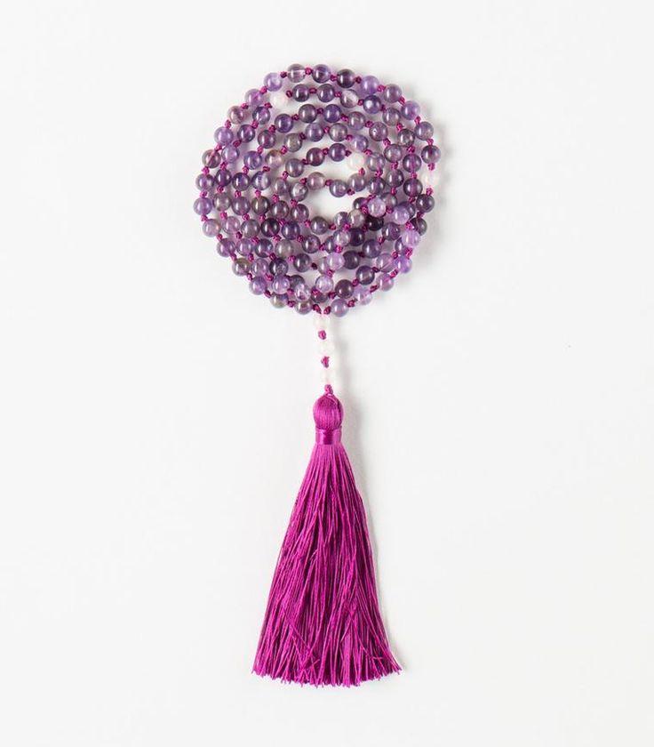 'True-Self' Mala - 108 Amethyst beads Tibetan Buddhist Mala with Pink Quartz