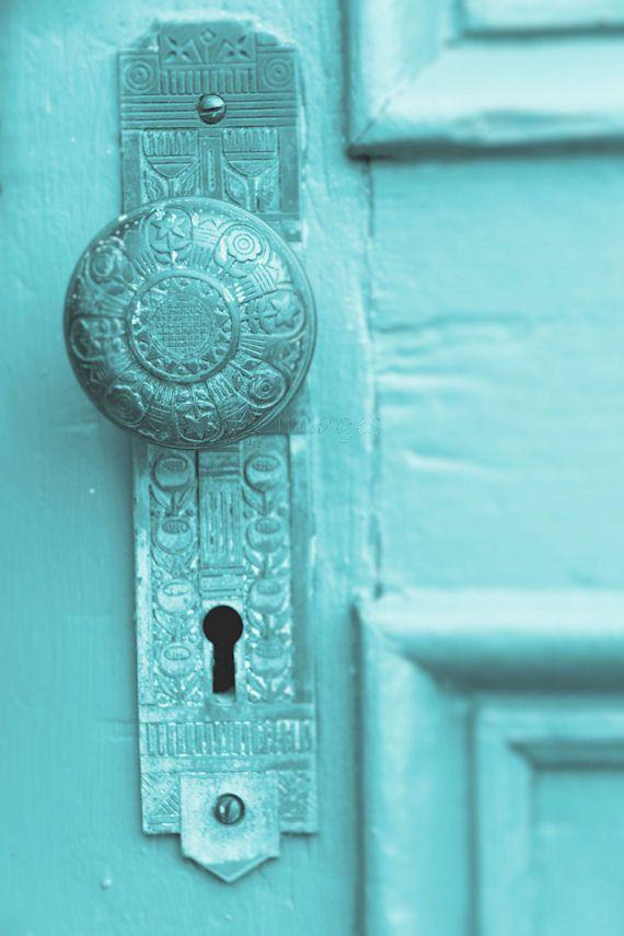 Aqua Door Knob Plate Photograph. Turquoise Teal Keyhole Salvage Hardware