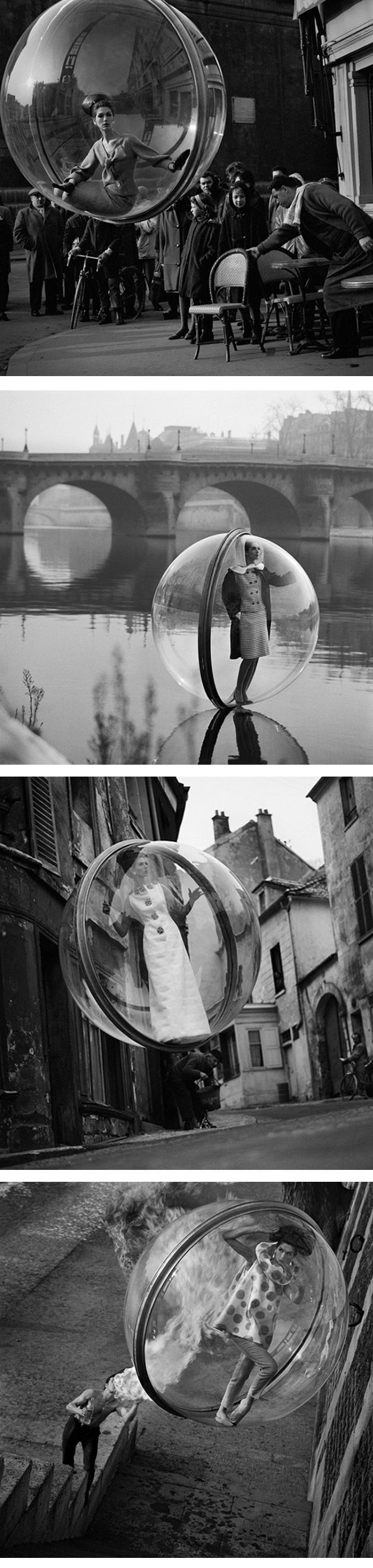 Pictures of a woman inside of a bubble in the 60's - no photshop