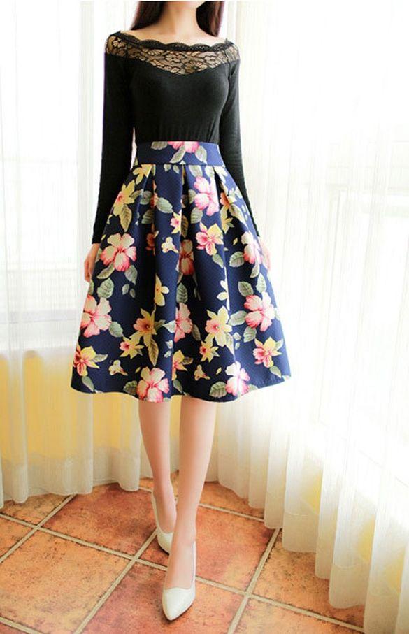 Korean Version Fashion Women High Waist Pleated Skirt A-Line Floral Skirt