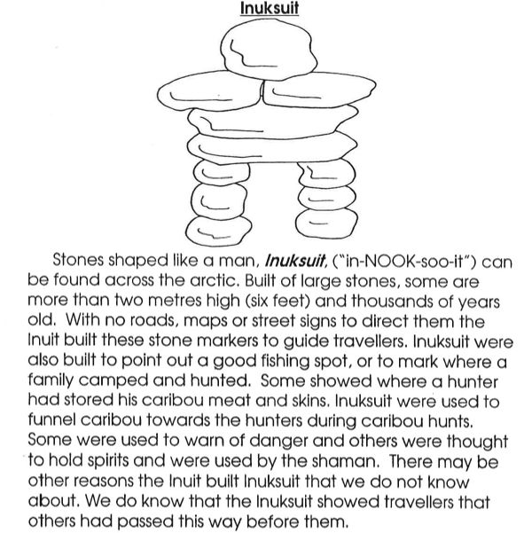 "1. What does the word ""Inuksuk"" mean? 2. Tell 7 things that Inuksuks are used for. 3. Draw an inuksuk and color it."