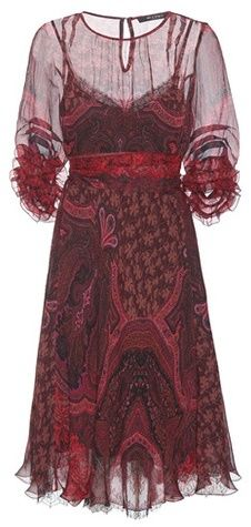 Etro Robe En Soie Imprimée