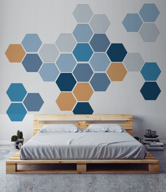 Verwijderbare honingraat muur sticker, 6 Hexagon Stickers per pak, Self Adhesive Canvas Art Sticker, geometrisch ontwerp