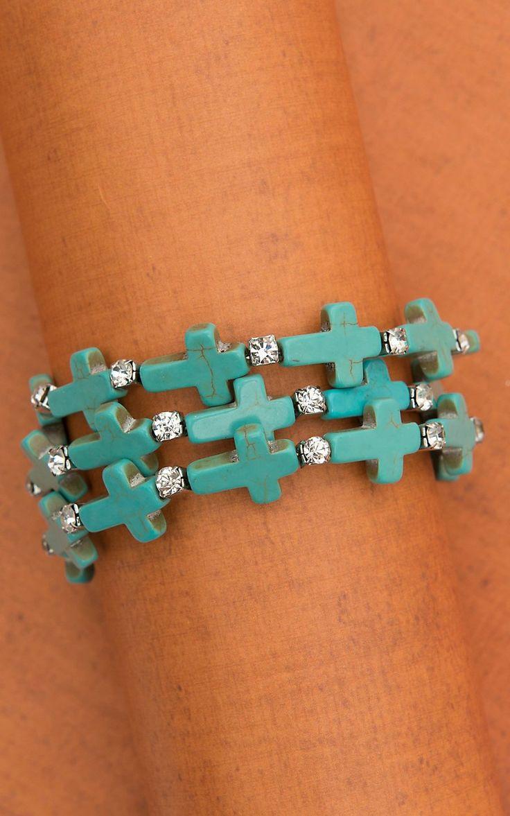 Turquoise Cross with Rhinestones Wrap Bracelet   Cavender's