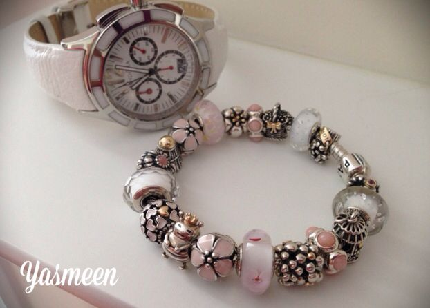 aed445d1f PANDORA Watch and Bracelet Combo. Pale Pink and White Colours, Very Pretty.    ☆PANDORA , TROLLBEADS , CHAMILIA , ETC. ☆   Pandora bracelets, Pandora ...