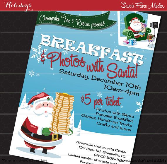 Breakfast with Santa Flyer / Photos with Santa Clause Poster ...