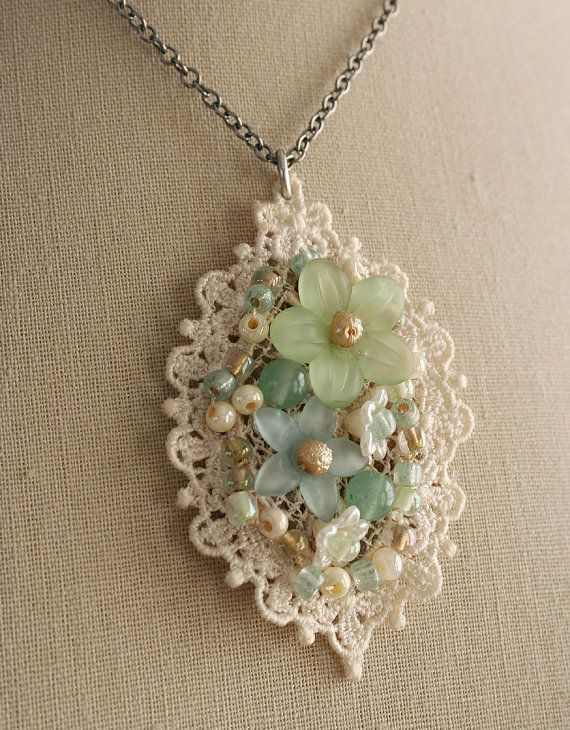 Pendant - beads sewn on lace motif. This would be great for those art buttons I have too many of. Or maybe it's an excuse to buy more!