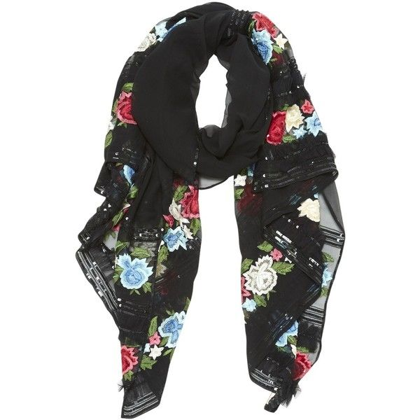 Pre-owned Escada Silk Neckerchief (2,840 EGP) ❤ liked on Polyvore featuring accessories, scarves, black, escada, pure silk scarves, silk shawl and silk scarves