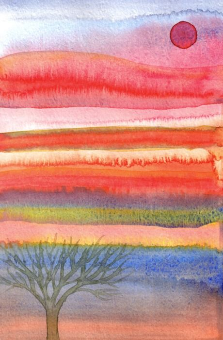 Experiment with watercolours...Watercolor Landscape with Striped sky.