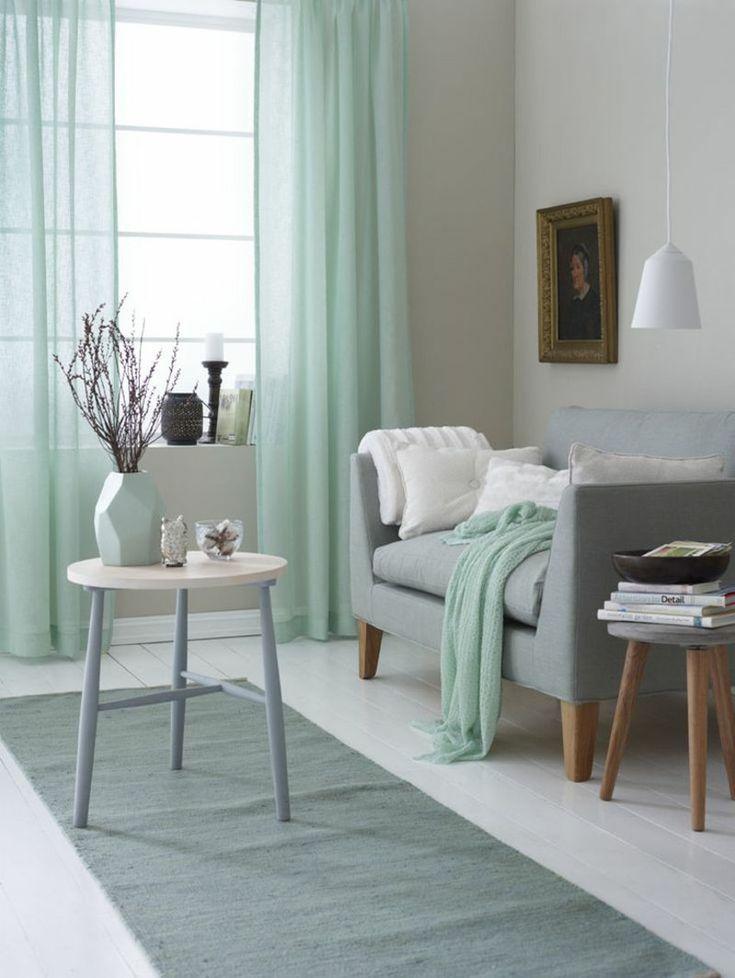 Einrichtungsideen im Wohnzimmer mit Farbe Minzgrün