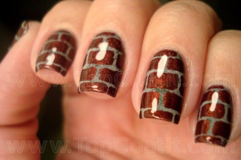 Brick (2)WL copy  http://topcoatit.com/2012/06/01/brick-nails/#: Brick Manicures, Nails Art, Brick Nails, Bricknail, Nailart, Brick Wall, Bricks, Nails Polish, Wall Design