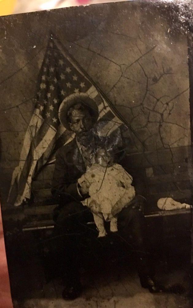 Rare Antique Tintype Photo Of Black Man  American Flag,Civil War,cowboy    eBay