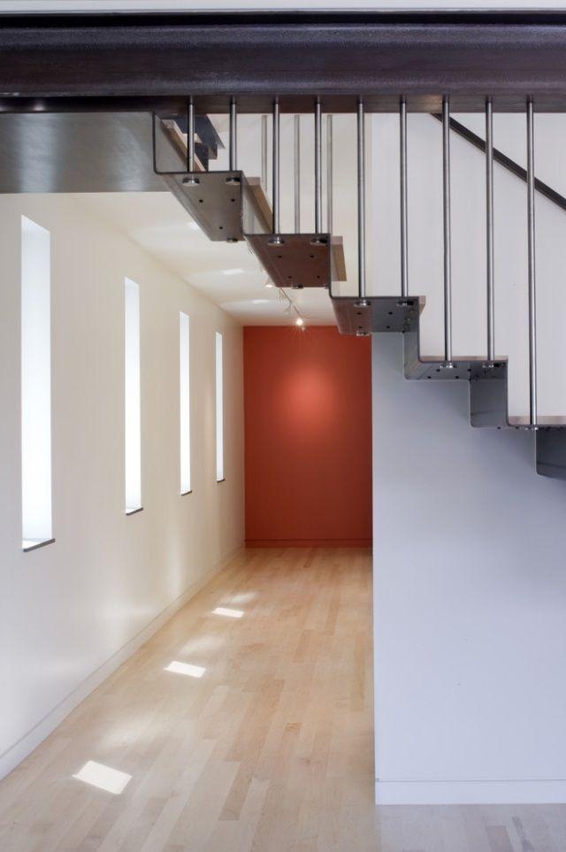 Hängetreppe modernes design stahl stufen geländer innen design ...
