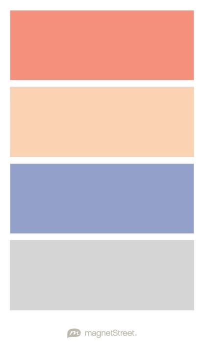 Coral, Peach, Periwinkle, and Silver Wedding Color Palette - custom color palette created at MagnetStreet.com