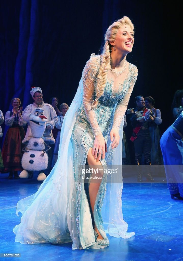 Caissie Levy as 'Elsa' takes her opening night curtain call of