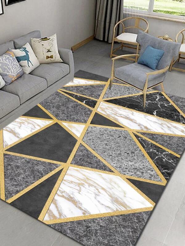 Geometric Marble Pattern Living Room Carpet Shein Usa Rugs On Carpet Living Room Carpet Room Carpet