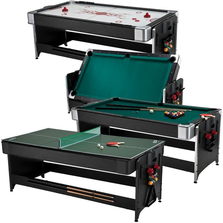 Billiard, Air Hockey & Table Tennis is a fun, versatile game table. With one purchase, you can enjoy all three!