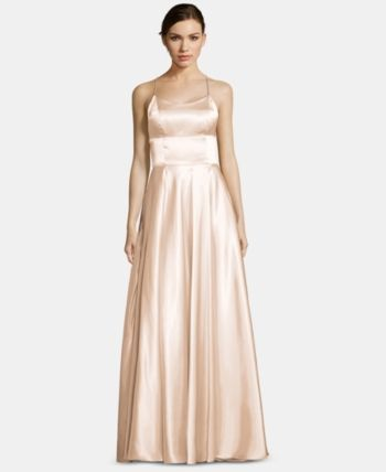 f4db1a84cb50 Betsy & Adam Satin Strappy-Back Gown in 2019 | Products | Gowns, Satin,  Prom dresses