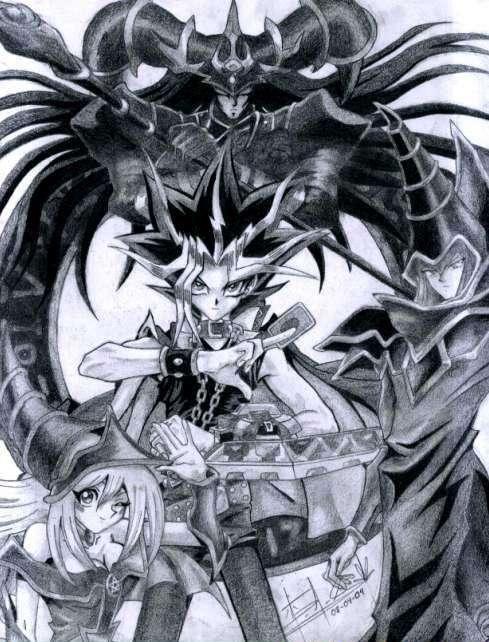 Yami Yugi, Dark Magician, Dark Magician Girl, and Magician of Black Chaos.