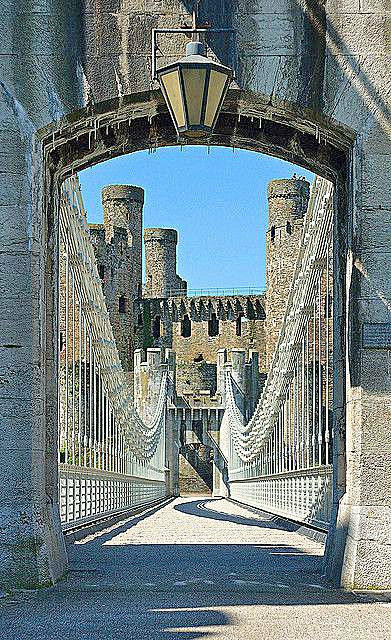 Bridge to Conwy Castle ~ the castle was built by Edward I between 1283-89, North…