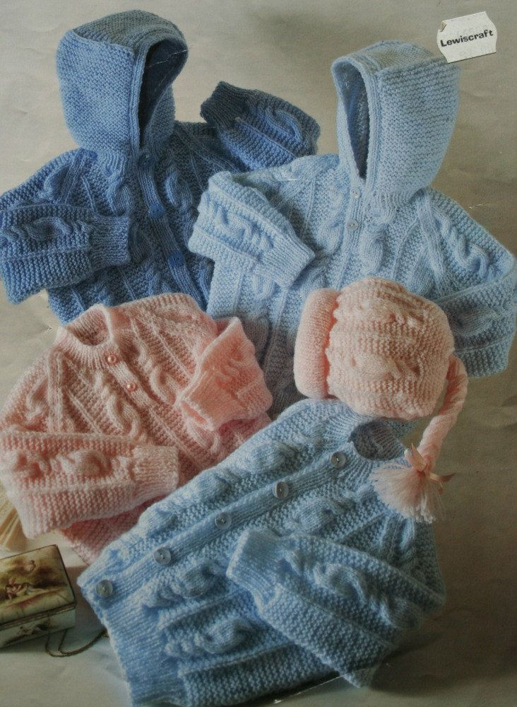 Hoodie Knitting Patterns Baby Toddler Sweaters Hat Peter Gregory 726 Baby &...