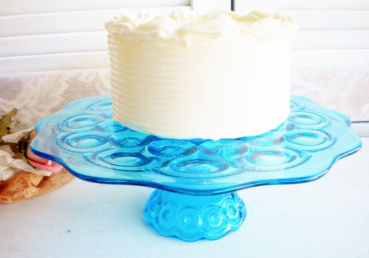 A personal favorite from my Etsy shop https://www.etsy.com/listing/521443213/aqua-wedding-cake-stand-something-blue11