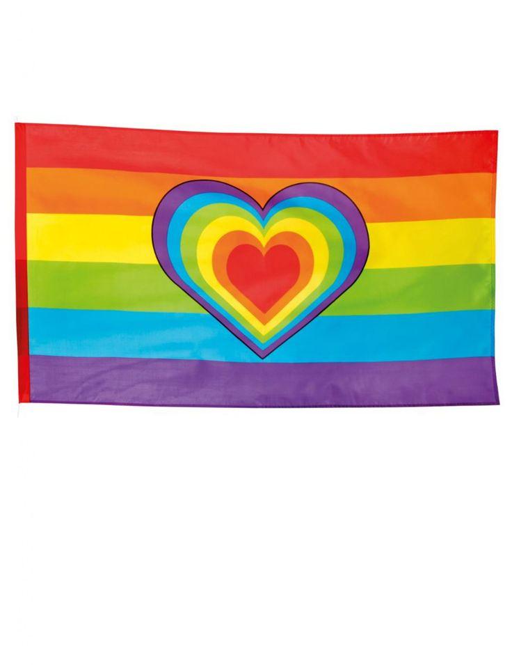 Bandera Arcoíris 90x150 cm: Esta bandera de poliéster mide alrededor de 90 cm de alto y 150 cm de ancho.Tiene bandas de colores con un corazón multicolor en el centro.Tiene un orificio de 6 cm para poder...